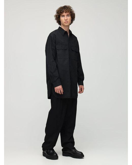 メンズ Lemaire オーバーサイズコットンミリタリーシャツ Black