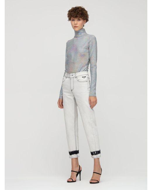 Джинсы Из Хлопкового Деним MSGM, цвет: Gray