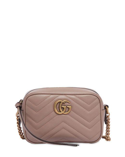 Gucci Multicolor Gg Marmont Camera Mini Schultertasche Aus Gestepptem Leder