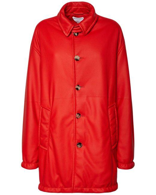 Кожаное Пальто С Пуговицами Bottega Veneta, цвет: Red