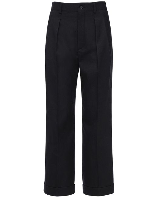 Брюки Из Шерстяного Габардина Saint Laurent, цвет: Black