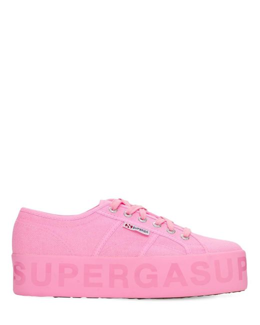 Superga キャンバスプラットフォームスニーカー 40mm Pink