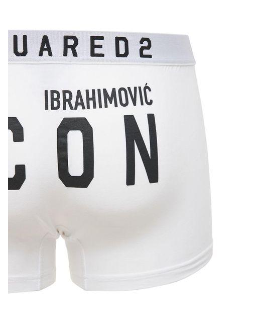 Хлопковые Трусы Ibrahimovic Icon DSquared² для него, цвет: White