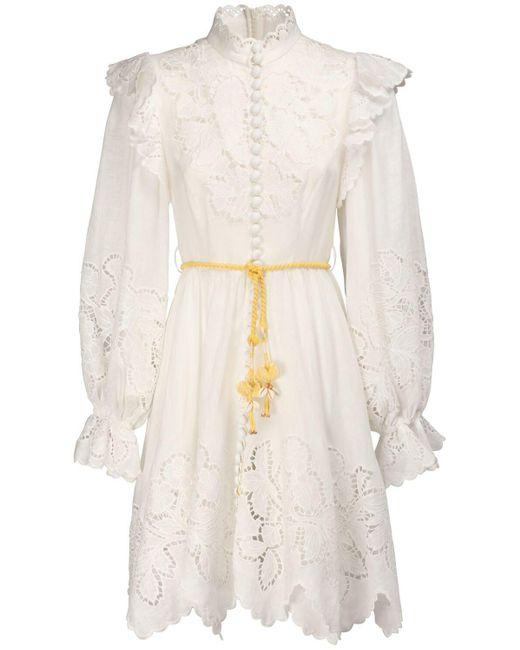Платье Carnaby С Оборками И Высоким Воротником Zimmermann, цвет: White