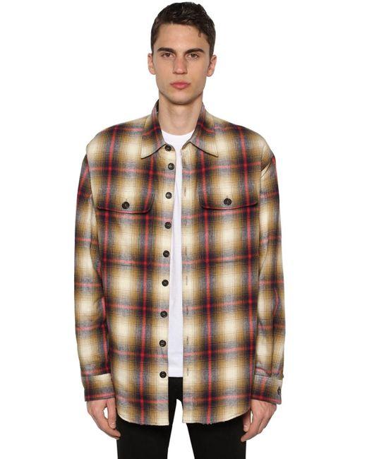 DSquared² Brown Cotton Shirt Jacket W/ Faux Shearling for men