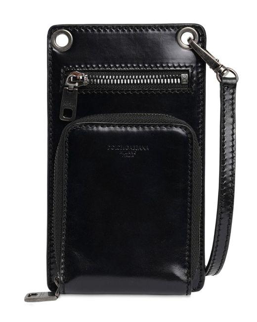メンズ Dolce & Gabbana レザー Iphoneケース Black