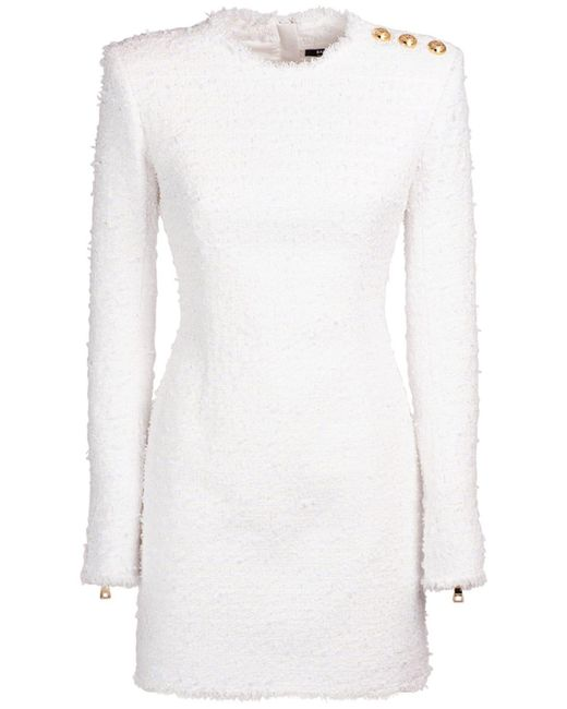 Balmain コットンブレンドツイードミニドレス White