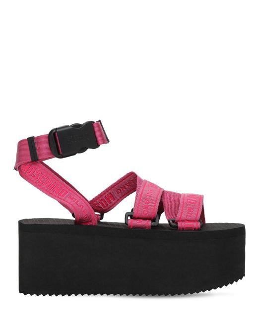 Босоножки Из Нейлона 80mm Moschino, цвет: Pink