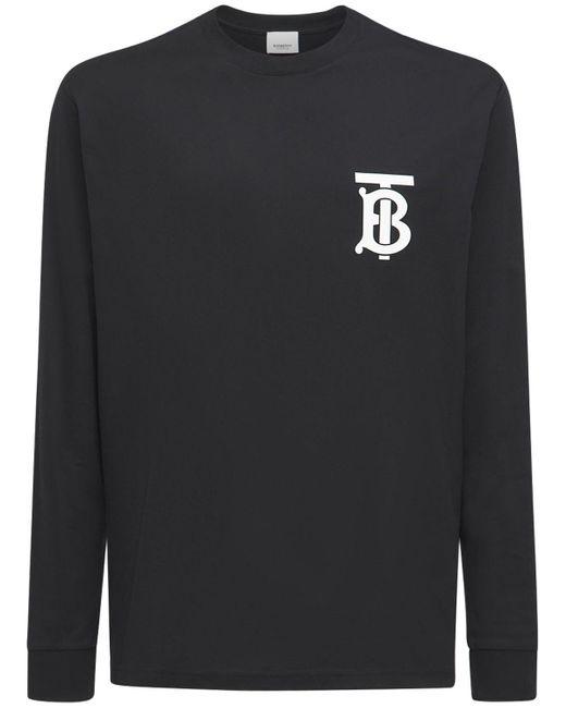 メンズ Burberry オーバーサイズコットンジャージーtシャツ Black