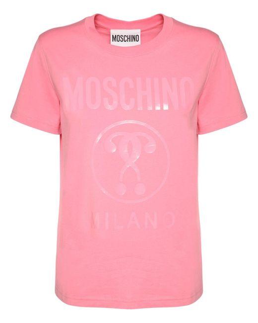 Moschino Question Mark コットンジャージーtシャツ Pink