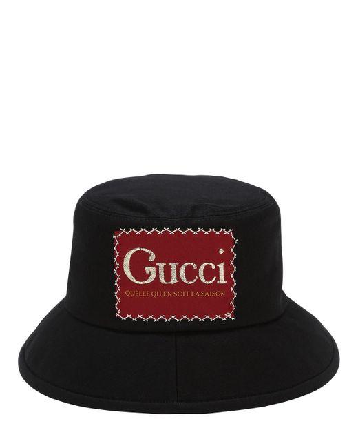メンズ Gucci ロゴ バケットハット Black