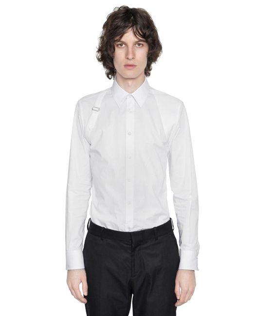 Alexander McQueen - White Stretch-hemd Aus Baumwollpopeline Mit Gurt for Men - Lyst