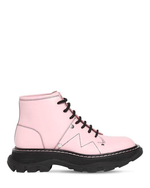 Кожаные Ботинки 40мм Alexander McQueen, цвет: Pink