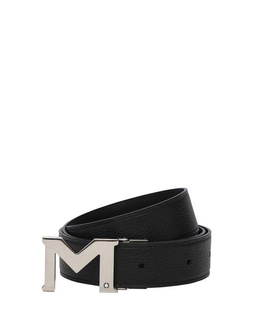 メンズ Montblanc リバーシブルレザーベルト 35mm Black