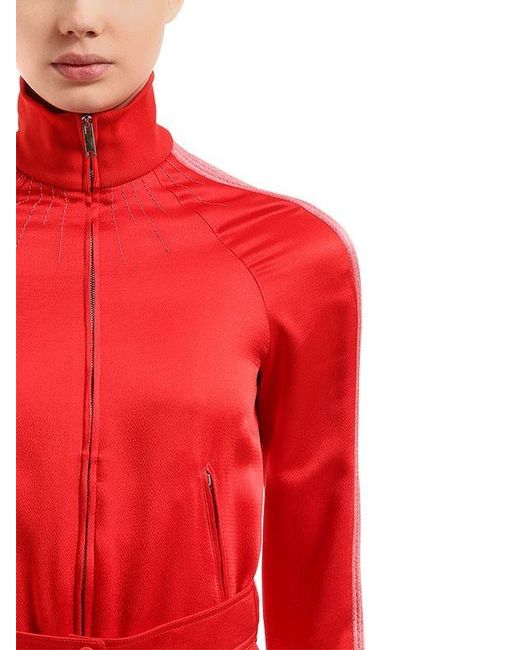 0288efb44457 Lyst - Valentino Textured Satin Jumpsuit in Red - Save 17%