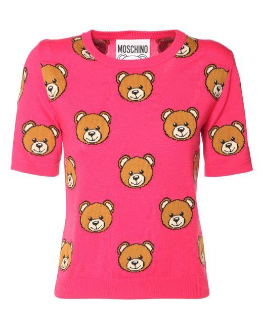 Moschino Teddy ウールニットトップ Pink