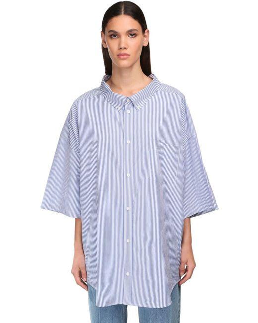 Balenciaga Blue Oversized Hemd Aus Baumwolle