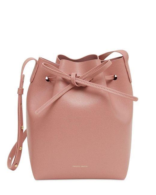 Mansur Gavriel Mini サフィアーノバケットバッグ Pink