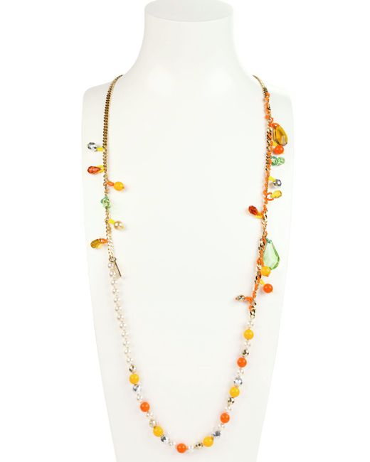 Rada'   Metallic Crystals And Pearls Necklace   Lyst