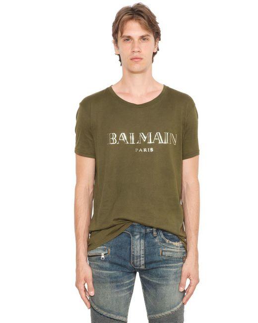 Balmain | Green Logo Printed Cotton Jersey T-shirt for Men | Lyst