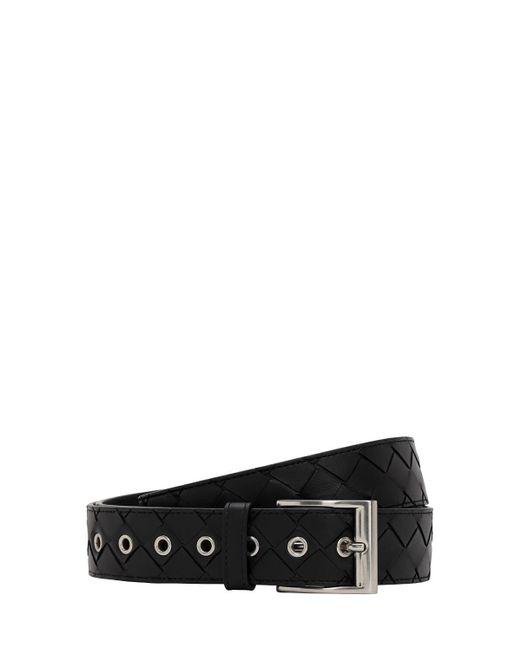 メンズ Bottega Veneta Maxi Intrecciato レザーベルト 35mm Black