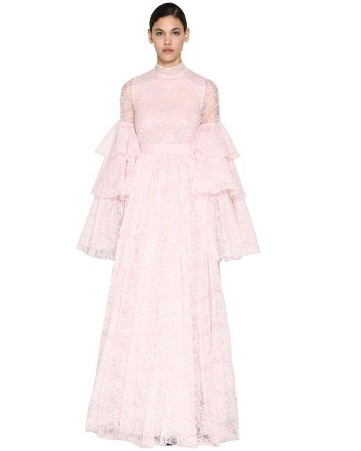 Giambattista Valli シャンティリーレースドレス Pink