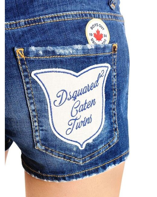 Women's Blue Cool Girl Scout Patches Denim Shorts