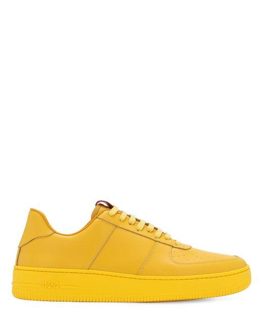 メンズ 424 レザースニーカー Yellow