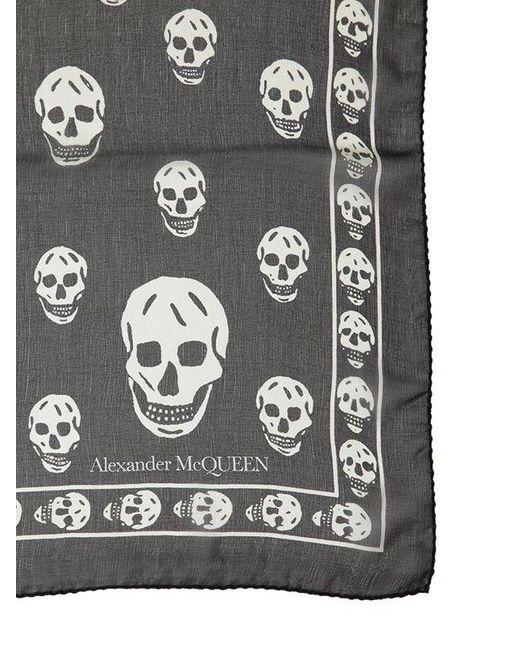 Alexander McQueen Skull シルクシフォンスカーフ Multicolor