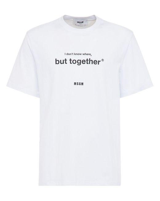 メンズ MSGM コットンジャージーtシャツ White