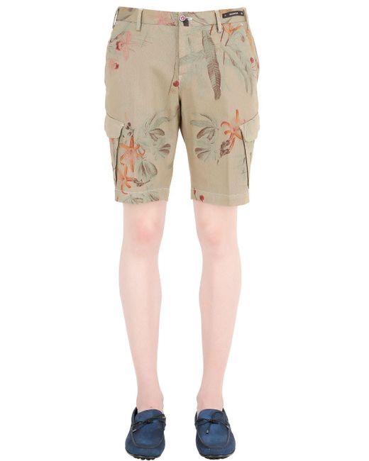 PT01 | Green High Tech Stretch Bull Cotton Shorts for Men | Lyst