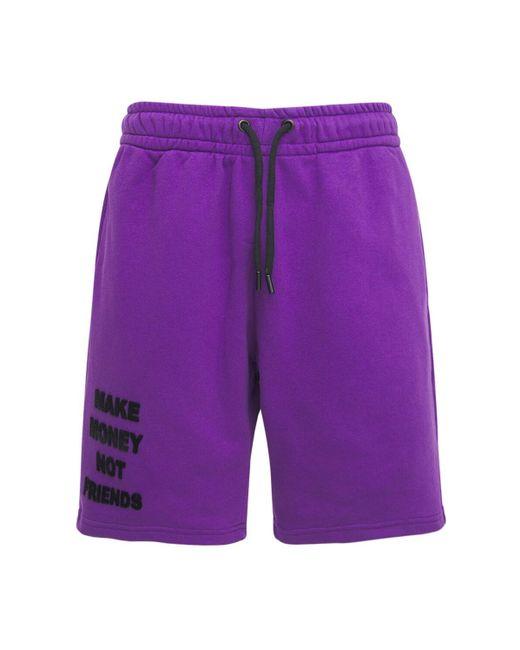 メンズ MAKE MONEY NOT FRIENDS コットンジャージースウェットハーフパンツ Purple