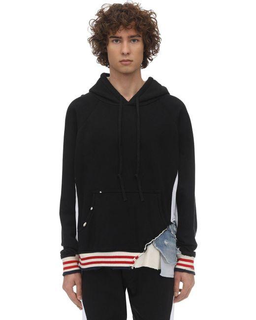 メンズ Greg Lauren Borg Cotton Sweatshirt Hoodie Black