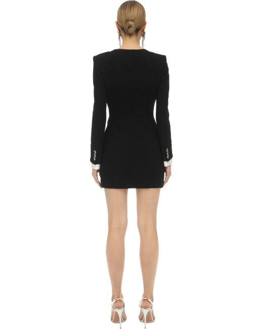 Alessandra Rich ツイード Vネックミニドレス Black