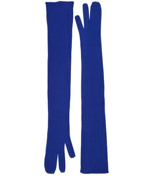 Maison Margiela Blue Long Rib Knit Gloves