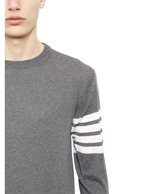 e18c297406 ... Thom Browne - Gray Intarsia Stripes Merino Wool Sweater for Men - Lyst  ...