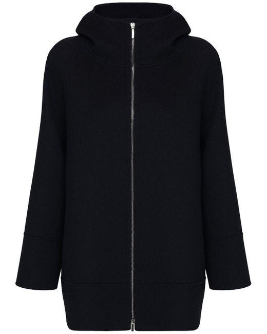 Max Mara フーデッドウールジップアップジャケット Black