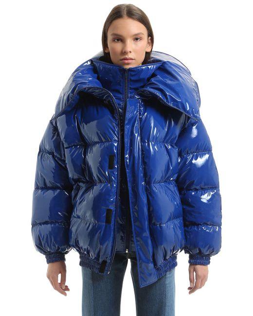 Vetements | Blue Oversized Shiny Nylon Puffer Jacket | Lyst
