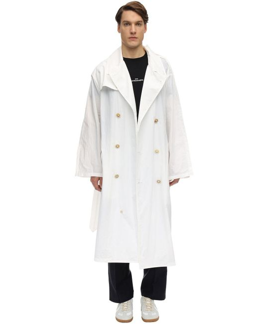 メンズ Maison Margiela オーバーサイズリサイクルナイロントレンチコート White