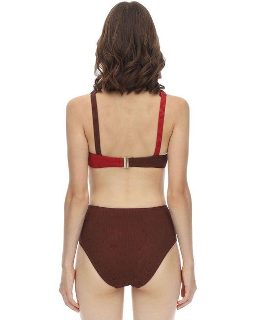 Self-portrait Women's Crisscross Seersucker Bikini Top