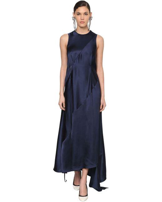 Robe Asymétrique En Satin Loewe en coloris Blue