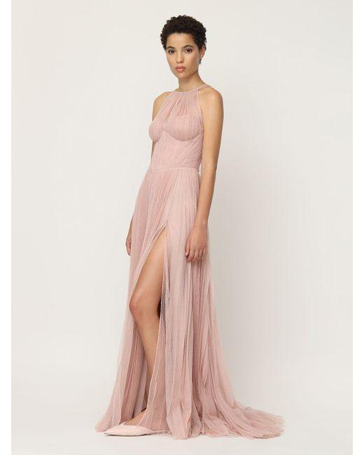 Maria Lucia Hohan ポルカドットチュール ロングプリーツドレス Pink