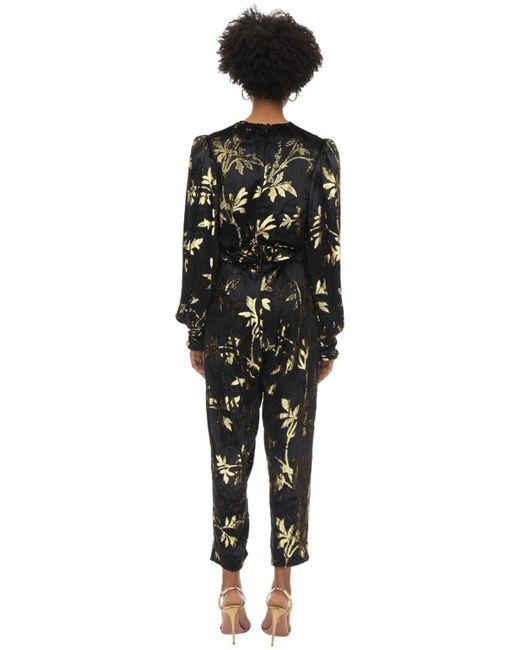 Dodo Bar Or Black Long Draped Velvet Jacquard Jumpsuit