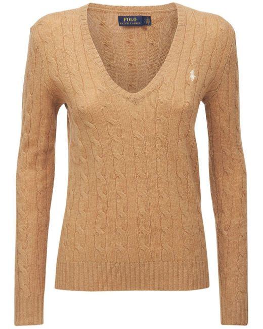 """Polo Ralph Lauren Natural Sweater Aus Wolle Und Kaschmir """"kimberly"""""""