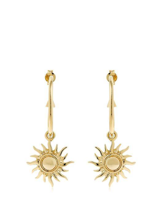 Schield - Metallic Hoop Earrings W/ Sun Charms - Lyst