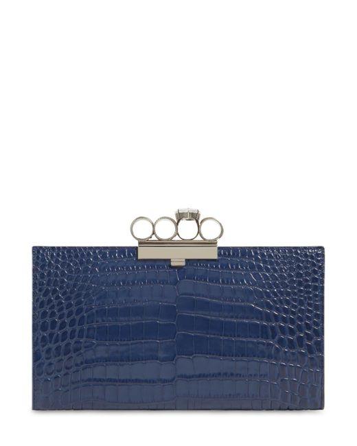 Alexander McQueen Four Ring クロコダイル柄エンボスレザークラッチバッグ Blue