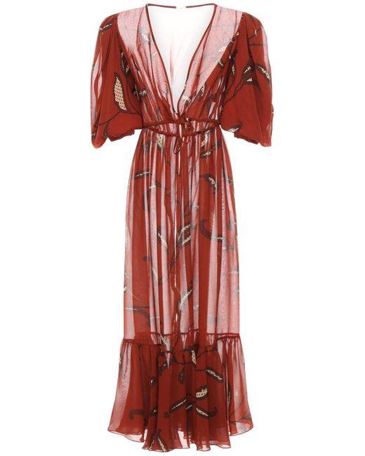 Johanna Ortiz Red Bedrucktes Kimonokleid Aus Doppelter Georgette
