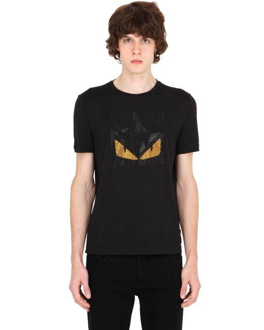 Fendi - Black Monster Rhinestone Cotton T-shirt for Men - Lyst