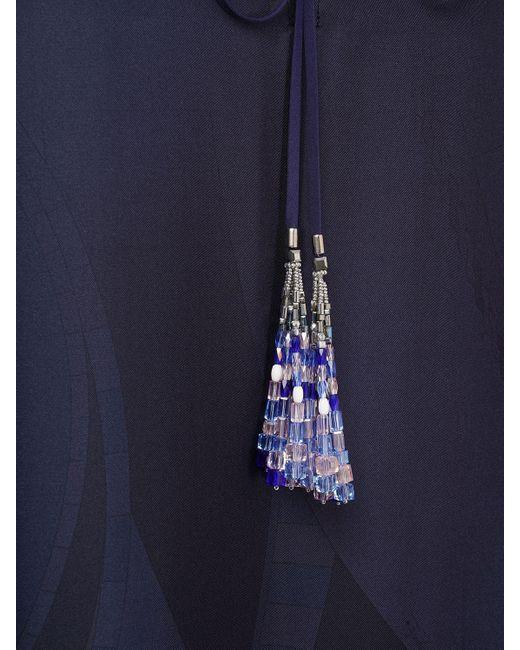 Emilio Pucci シルクサテンカフタンドレス Blue
