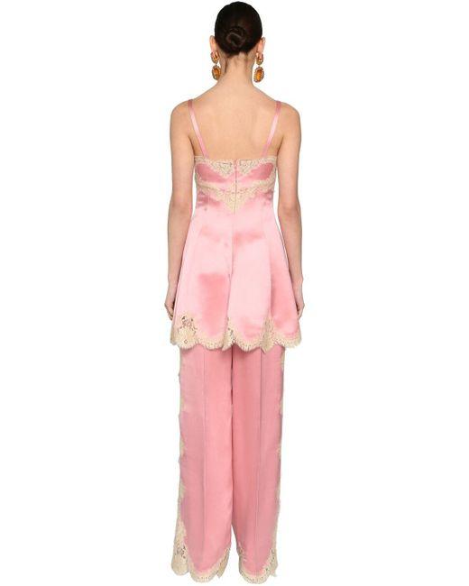 Короткое Платье Из Атласа И Кружева Dolce & Gabbana, цвет: Pink